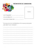 PRÉSENTATION DE CANDIDATURE